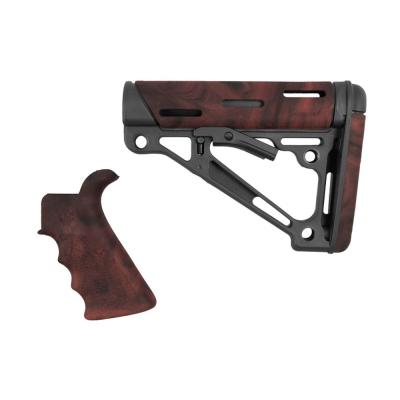 AR-15/M-16 Kit - Finger Groove Beavertail Grip and OverMolded Collapsible Buttstock - Fits Commercial Buffer Tube - Red Lava Rubber